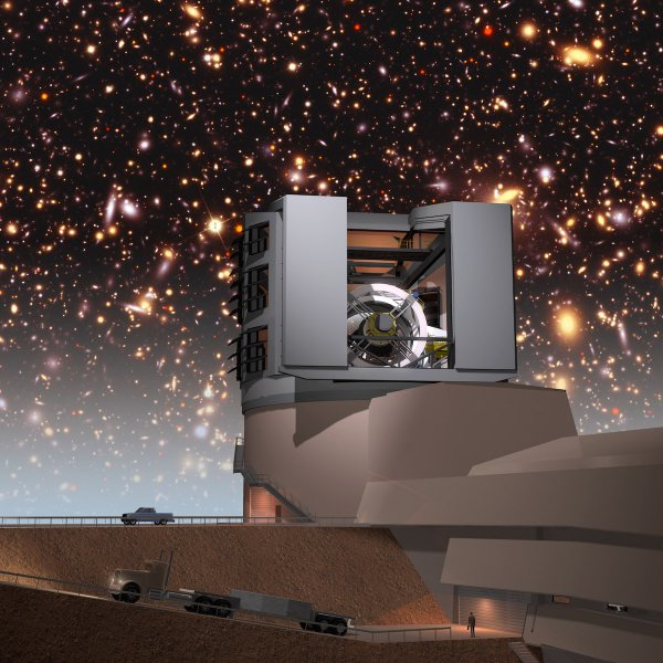 A simulated night sky provides a background for the LSST facilities building on Cerro Pachón. The LSST will carry out a deep, ten-year imaging survey in six broad optical bands over the main survey area of 18, 000 square degrees.